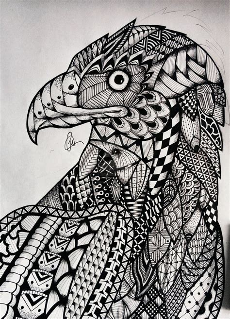 zentangle eagle  lukemac  deviantart art