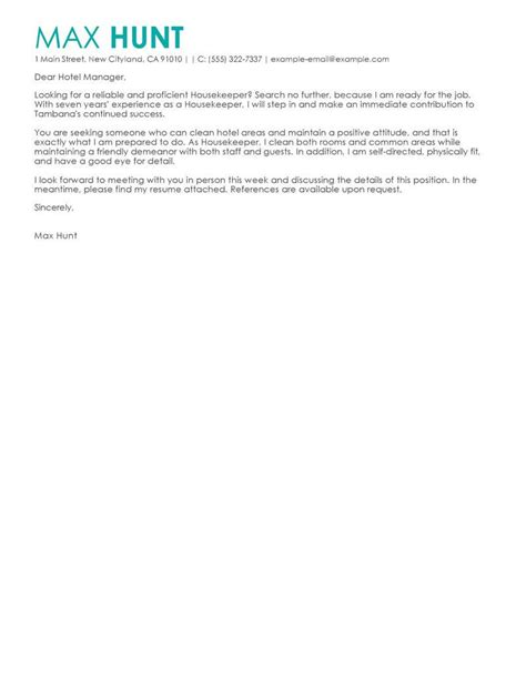 Housekeeper Cover Letter by Free Hotel Hospitality Cover Letter Exles Templates