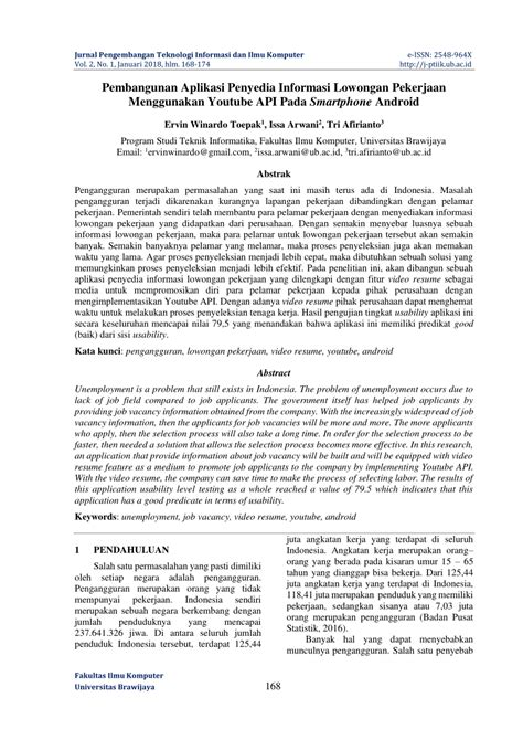 (PDF) Pembangunan Aplikasi Penyedia Informasi Lowongan