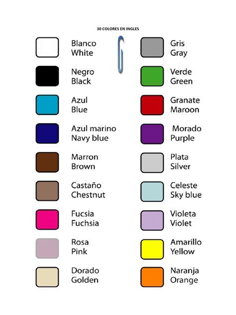 30 Colores En Ingles