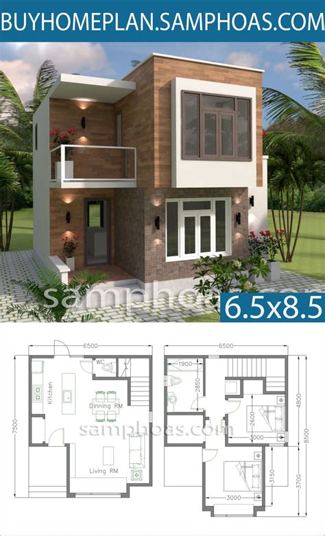 Small House Design with Full Plan 6 5x7 5m 집 디자인 집 평면도