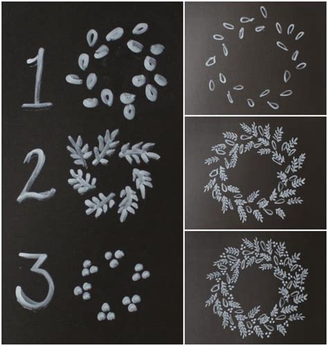Weihnachtsdeko Fenster Kreidemarker by How To Draw A Chalk Wreath Kreidemarker Vorlagen