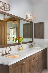 Modern, Master, Bathroom, With, Sleek, Wood, Vanity