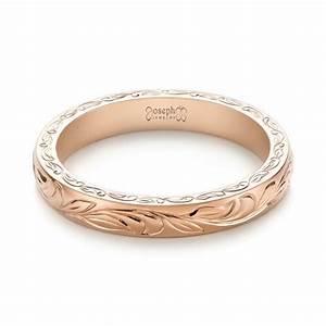 custom rose gold hand engraved wedding band 103284 With custom engraved wedding rings