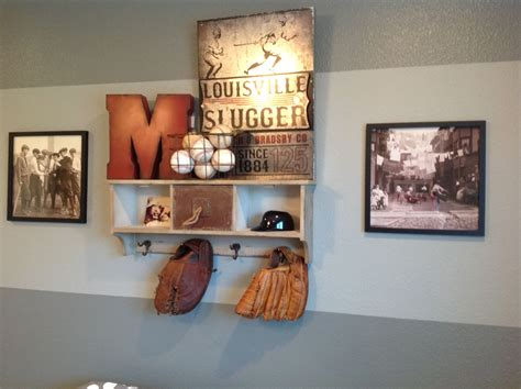 Manny's Baseball Room. Shelf-homegoods. M And Metal Pic