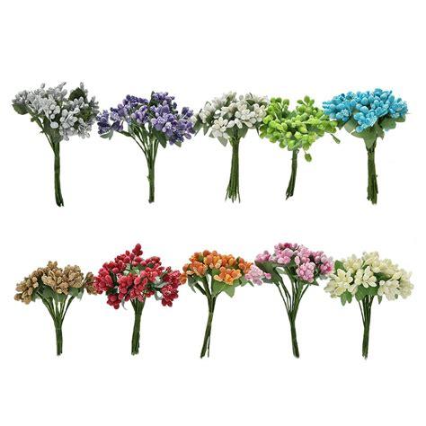 12x mini artificial stamen bud silk flower bouquet wedding