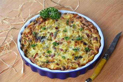 clafoutis de poireaux lardons et pommes de terre au fil