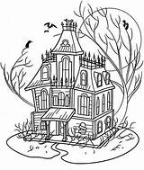 Haunted Coloring Halloween Houses Adults Drawing Adult Printable Mansion Spooky Sheets Disney Fall Sheet Colouring Colorpagesformom Template Activity Clipart Whitesbelfast sketch template