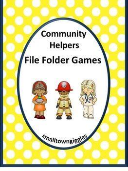 community helper math  literacy file folder games