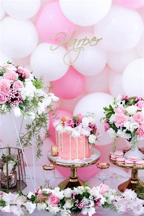 Pink White And Gold Birthday Decorations by Kara S Ideas Pink White Gold Garden Kara