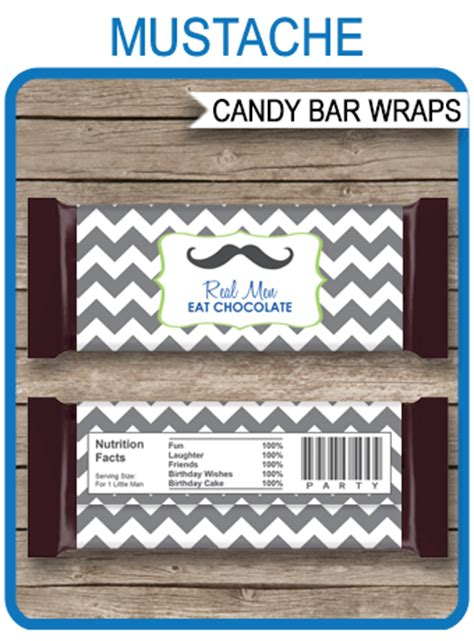 mustache hershey candy bar wrappers  man