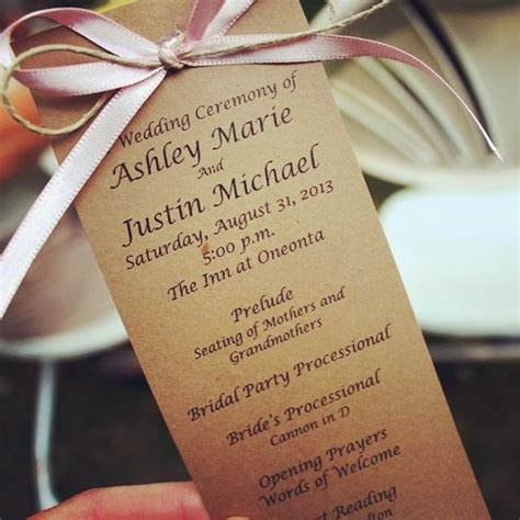 diy wedding programs card stock ribbon and twine easy