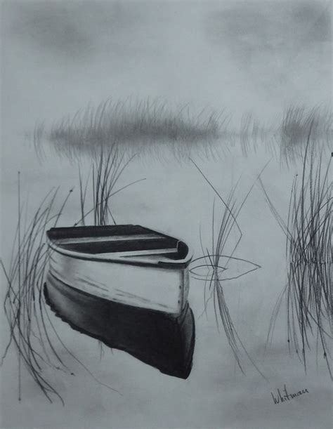 Boat Art Drawing by Misty Row Boat On The Lake Reflections Sketch Original