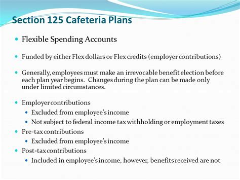 section 125 cafeteria plan health and retirement benefits ppt