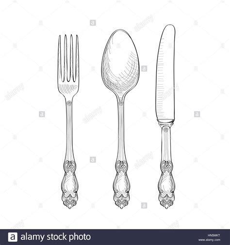 Fork, Knife, Spoon sketch set. Cutlery hand drawing