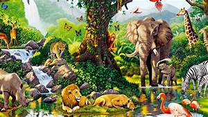1366x768 Jungle Animals Seven desktop PC and Mac wallpaper