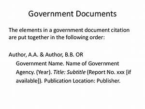 part ii creating citations With government documents apa
