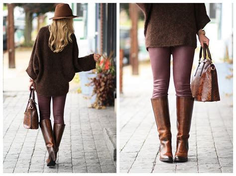 Oversized Sweater, Leather Skinny Jeans & Tall Boots }