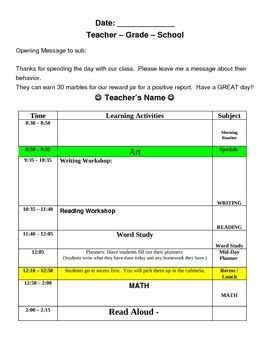 emergency substitute lesson plans template free substitute teacher plans template thevillas co
