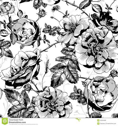 zwart witte bloemen naadloze achtergrond vector illustratie illustratie bestaande uit silhouet