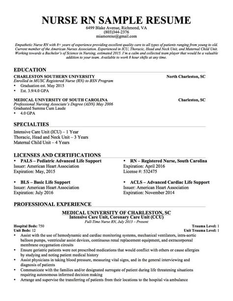 resume exles for nurses experienced nursing resume nursing pinte