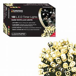 100 Warm White Led Battery Operated Timer Lights