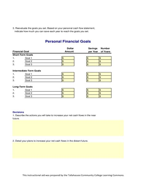 personal cash flow statement personal flow statement free