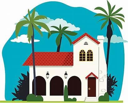 Spanish Colonial Homes Vector Villa Clipart Clip