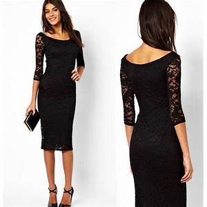 2016 summer new brand design o neck slim one piece lace With robe noire manche longue dentelle
