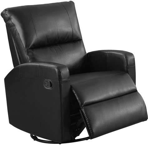 leather glider recliner with black bonded leather swivel glider recliner 8084bk monarch