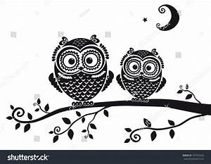 Black White Illustration Vintage Owl Fairy Stock Vector ...