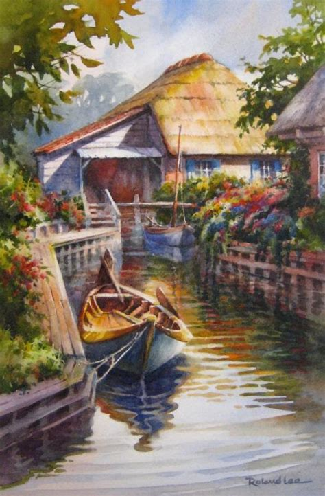 giethoorn holland canal boat painting roland lee