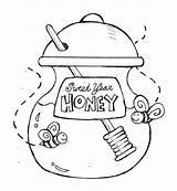 Honey Coloring Jar Sweet Pot Bee Eve Pooh Drawing Cartoon Bear Printable Template Drawings Getcolorings Designlooter 650px 52kb sketch template
