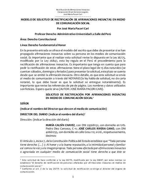 modelo de solicitud de rectificacion de afirmaciones