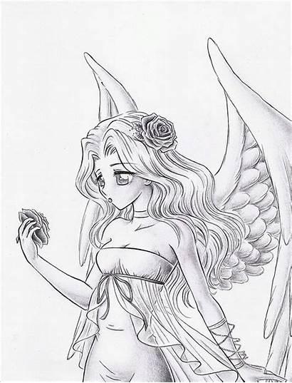 Angel Drawing Drawings Wings Angels Sketch Coloring