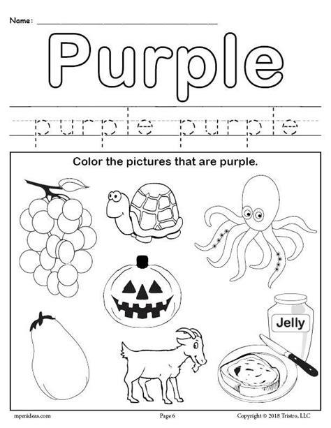 color purple worksheet color worksheets  preschool