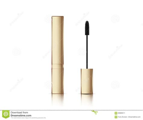 The best free mockups from the web: Gold Lash Mascara Tube With Brush. Fashion Make-up Vector ...