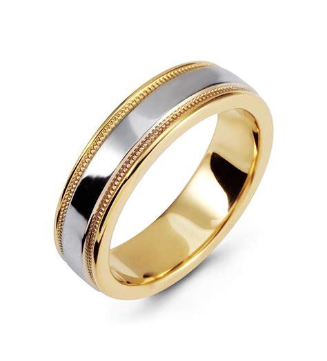 modern  tone ring  white yellow gold wedding band
