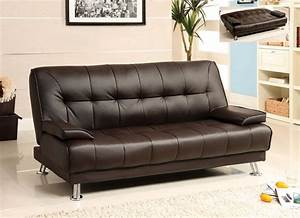 Futon sofa bed dark brown leather removable armrests for Brown leather futon sofa bed