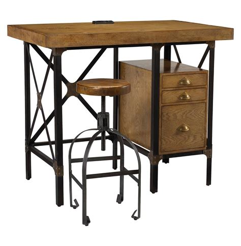 industrial standing desk lucien industrial loft brown oak standing desk with stool
