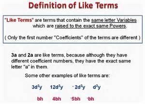 Combining Like Terms Algebra