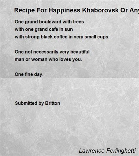 recipe  happiness khaborovsk  anyplace poem