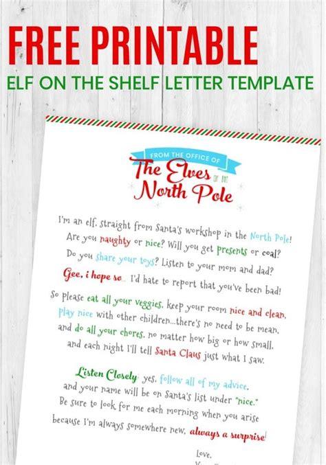 printable elf   shelf letter template letter