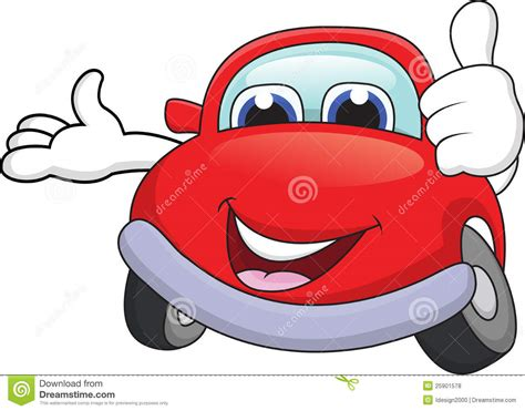 Car Cartoon With Thumb Up Stock Vector. Image Of Drive