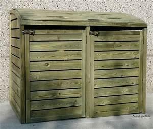 Pouf En Bois : coffre en bois pour 2 poubelles cache poubelles double bois autoclave solid achat ~ Teatrodelosmanantiales.com Idées de Décoration