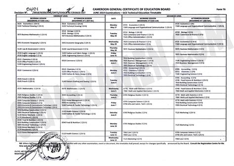 technical education timetable cameroon gce board june session