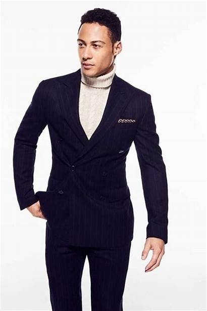 Turtleneck Wear Suits Suit Mens Breasted Double