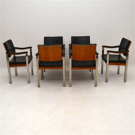 31000 retro chrome dining set current set of 6 vintage dining chairs in teak leather and chrome