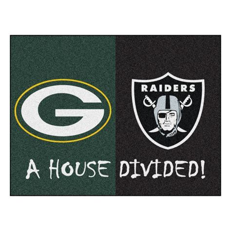 home depot green bay fanmats nfl packers raiders green house divided 2 ft 10