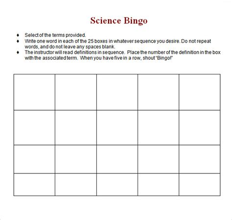 blank bingo template    documents